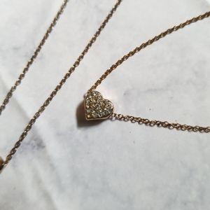 Jewelry - Heart Necklace Bracelet Set Gold Tone Dainty Look